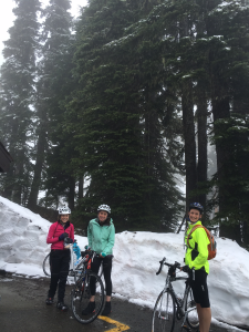 Calilee (left), Liz, and Ann take a break just before the Chinook Pass summit